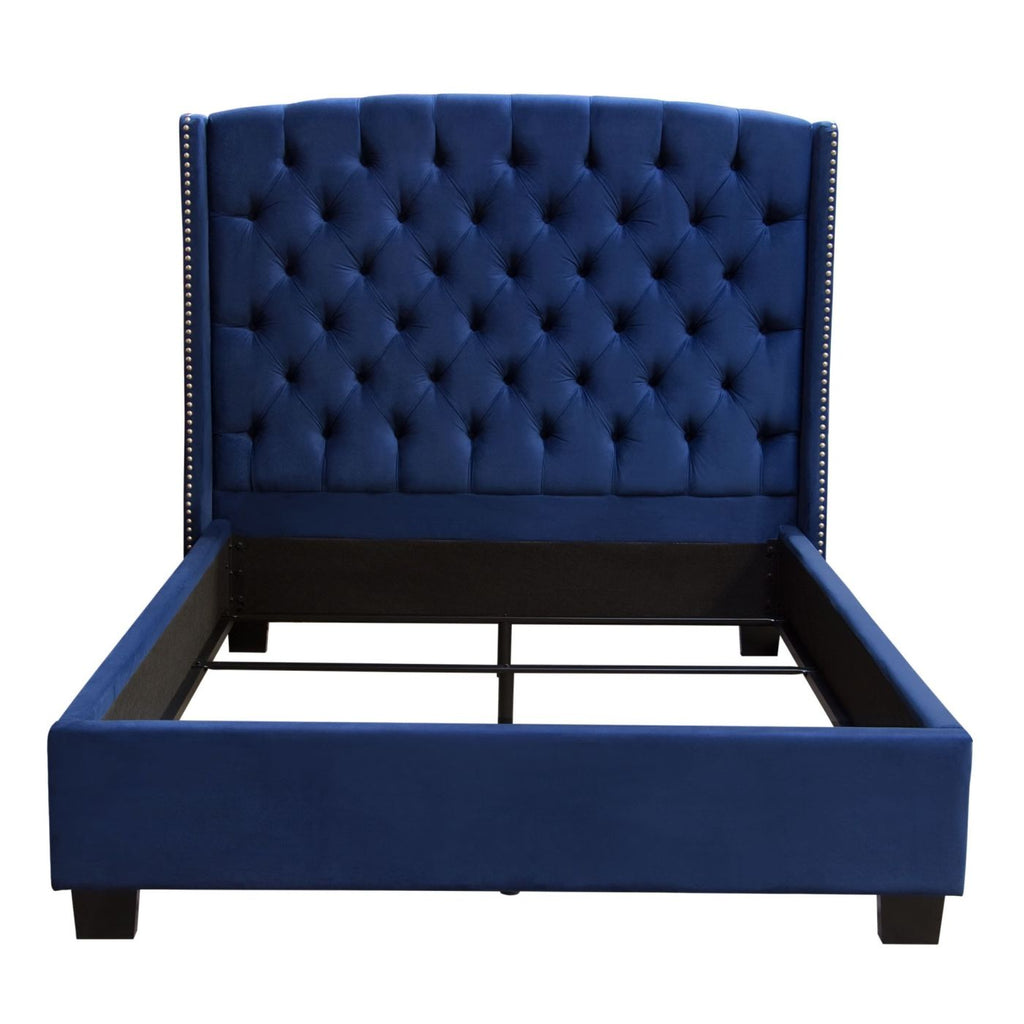 Majestic Queen Tufted Bed In Royal Navy Velvet With Nail Head Wing Accents