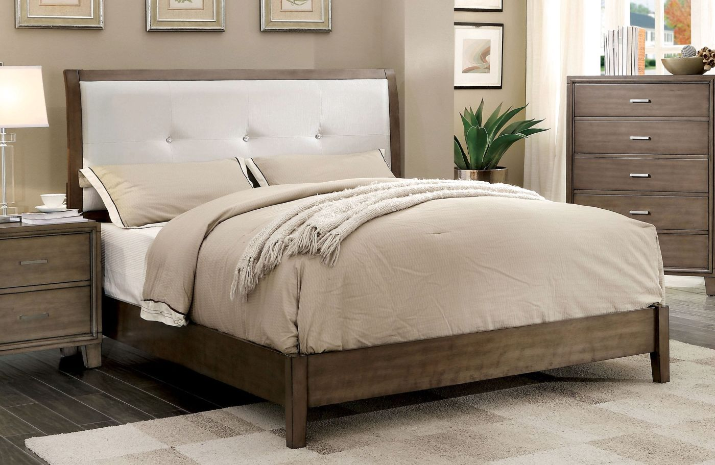 eastern king bed Wolson Contemporary Tufted Leatherette Eastern-King Bed In Gray. Hover to  zoom
