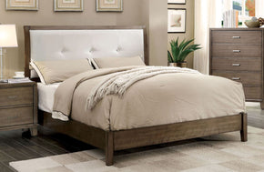 Wolson Contemporary Tufted Leatherette Queen Bed In Gray