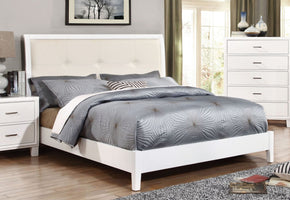 Wolson Contemporary Tufted Leatherette Queen Bed In White