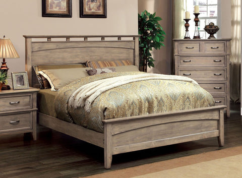 Kernan Transitional Low Footboard Queen Bed In Weathered Oak