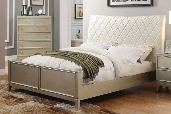 Rives Contemporary Diamond Tufted Leatherette Eastern-King Bed In Silver Gray