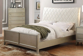 Rives Contemporary Diamond Tufted Leatherette Queen Bed In Silver Gray