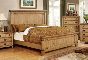 Mallon Country Style Plank Queen Bed In Weathered Elm