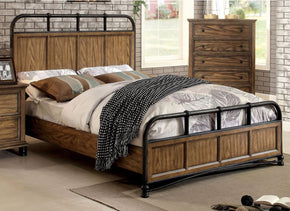 Lesko Industrial Cal-King Size Bed In Dark Oak