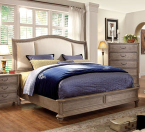 Melke Transitional Fabric Eastern-King Bed In Rustic Grey
