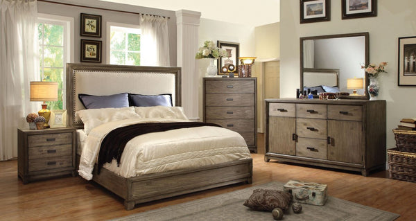 Lammers Transitional Flax Fabric Cal-King Bed In Natural Ash