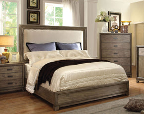 Lammers Transitional Flax Fabric Eastern-King Bed In Natural Ash