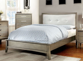 Yarber Contemporary Tufted Leatherette Queen Bed In Grey
