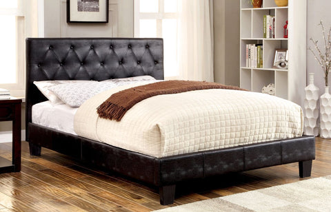Ryfner Contemporary Crocodile Leatherette Eastern-King Bed In Black