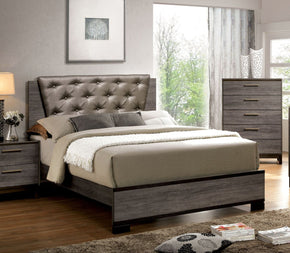Jurado Contemporary Leatherette Queen Bed In Antique Grey