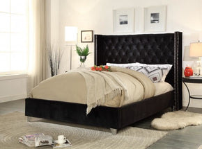 Aiden Black Velvet Queen Bed