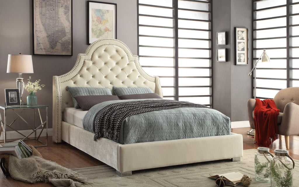 Madison Cream Velvet Queen Bed