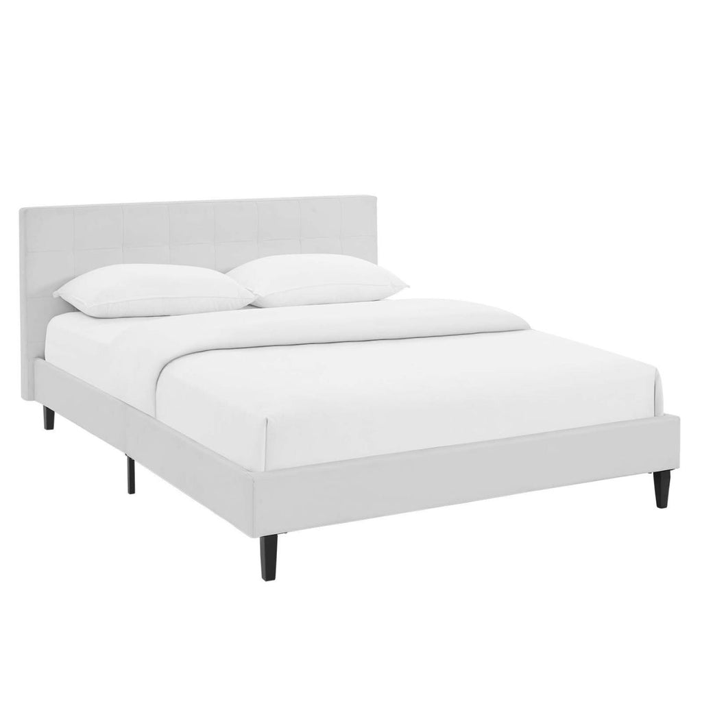 Linnea Queen Faux Leather Bed White