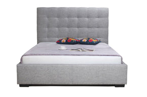 Belle Storage Bed King Light Grey Fabric 100% Polyester Upholstery Solid Pine Wood Frame