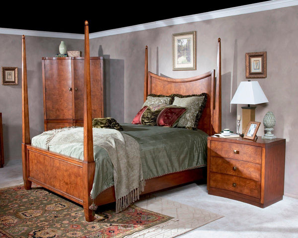 Millennium Park Transitional Queen Poster Bed Medium Brown