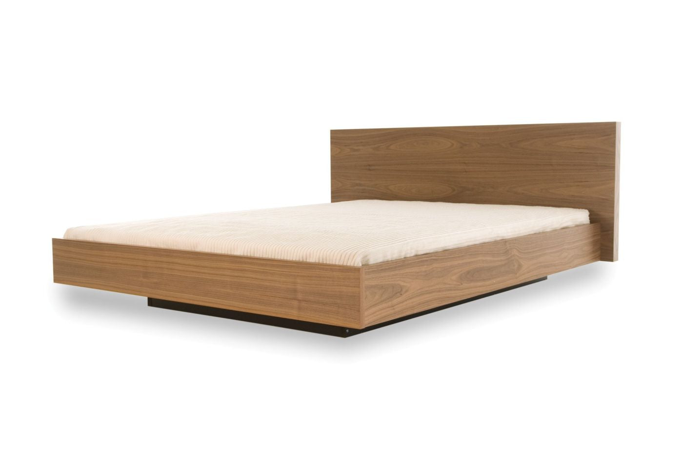 Float Bed King Size W Mattress Support Walnut Upholstered