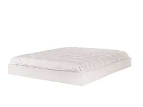 Float Platform Queen Size Bed W/ Mattress Support - No Headboard High Gloss White