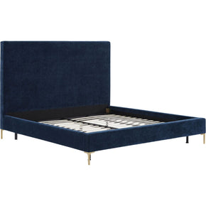Delilah Navy Textured Velvet Bed In King