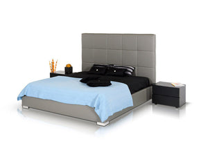 Modrest Messina - Modern Grey Eco Leather Bed With Lift Storage
