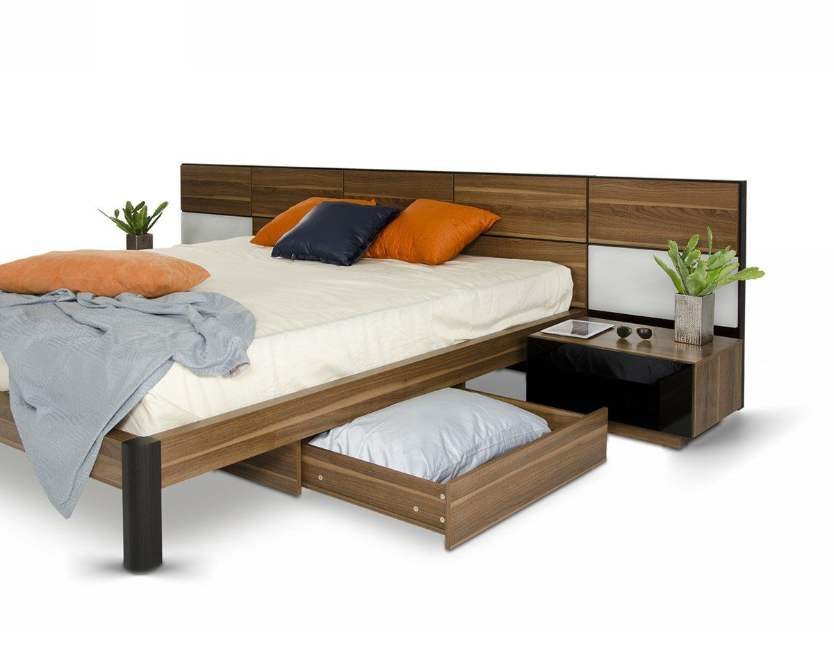 Vig furniture modrest rondo modern bed with nightstands for Contemporary furniture warehouse