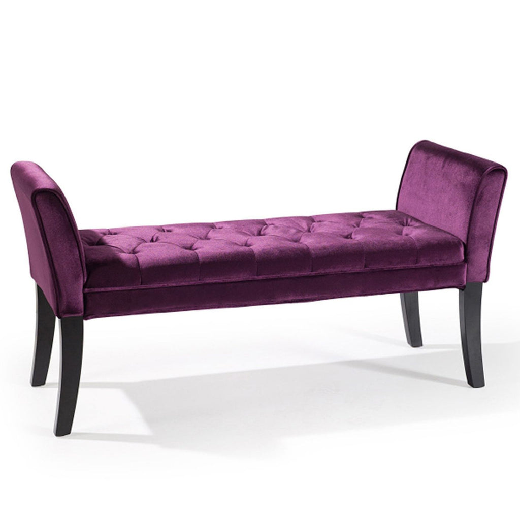 Benches - Armen Living LC0845BEPU Chatham Bench in Purple Velvet | 700220756304 | Only $209.00. Buy today at http://www.contemporaryfurniturewarehouse.com