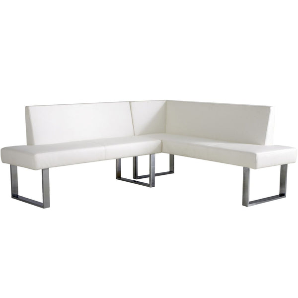 Benches - Armen Living LCAMCOWHSF Amanda Contemporary White Corner Sofa / Bench | 700220755895 | Only $840.00. Buy today at http://www.contemporaryfurniturewarehouse.com