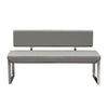 Knox Bench w/ Back & Stainless Steel Frame - Grey
