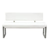 Knox Bench w/ Back & Stainless Steel Frame - White