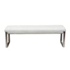 Knox Backless, Tufted Bench w/ Stainless Steel Frame - White