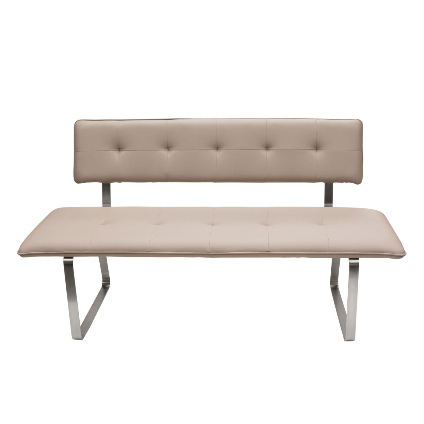 Diamond Sofa Maddox Bench with Tufted Seat & Back & Stainless Steel