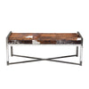 Mystique Brown/White Hair on Hide Bench w/ Polished Stainless Steel Frame