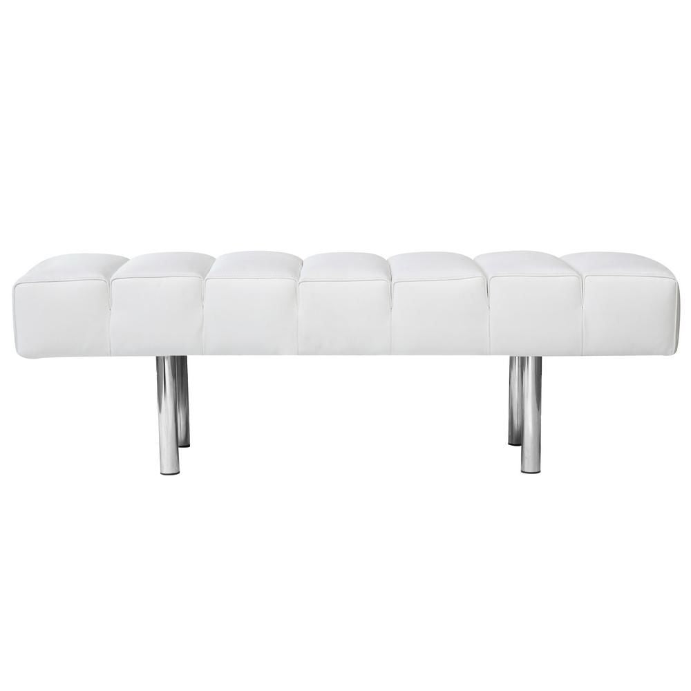 Marvelous Unbeatable Price On Fine Mod Imports Classic Mid Century Modern 2 Seater Bench White Italian Leather At Contemporary Furniture Warehouse Beatyapartments Chair Design Images Beatyapartmentscom
