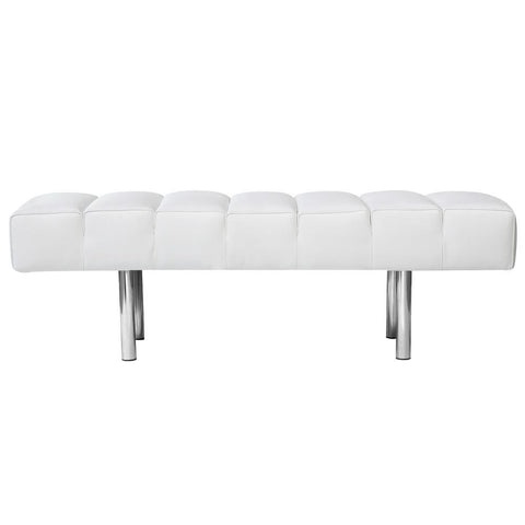 Classic Mid Century Modern 2 Seater Bench White Italian Leather