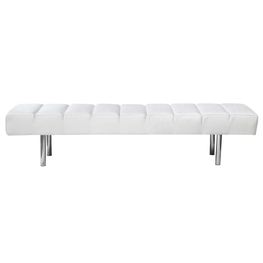 Marvelous Unbeatable Price On Fine Mod Imports Classic Mid Century Modern 3 Seater Bench White Italian Leather At Contemporary Furniture Warehouse Pabps2019 Chair Design Images Pabps2019Com