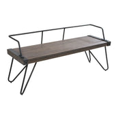 Stefani Industrial Antique Bench Walnut Wood