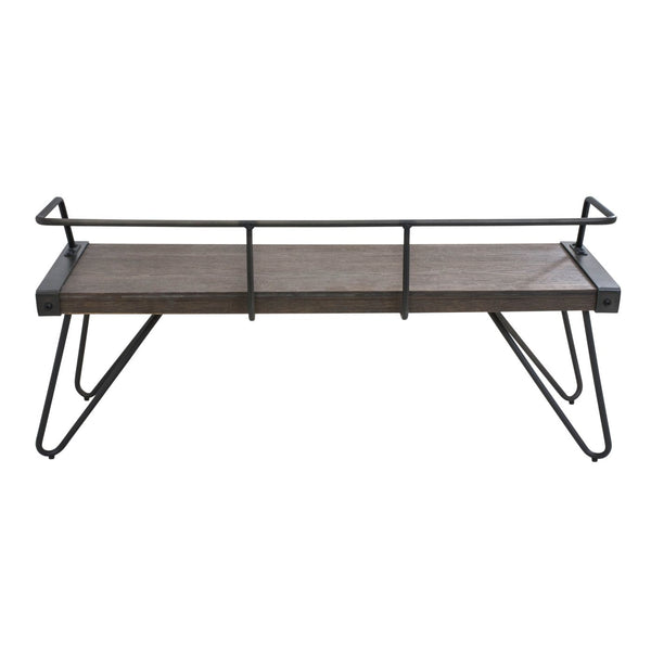 Benches - Lumisource DC-STFBEN WL+AN Stefani Industrial Antique Bench Walnut Wood | 681144430917 | Only $179.80. Buy today at http://www.contemporaryfurniturewarehouse.com