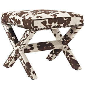 Rivet Upholstered Fabric Bench Cow