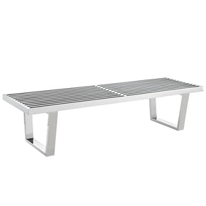 Sauna 5' Stainless Steel Bench Silver