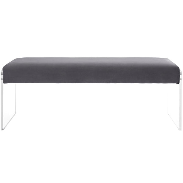 Benches - Modway EEI-2461-GRY Roam Velvet Chic Modern Bench Clear Acrylic | 889654095989 | Only $208.55. Buy today at http://www.contemporaryfurniturewarehouse.com