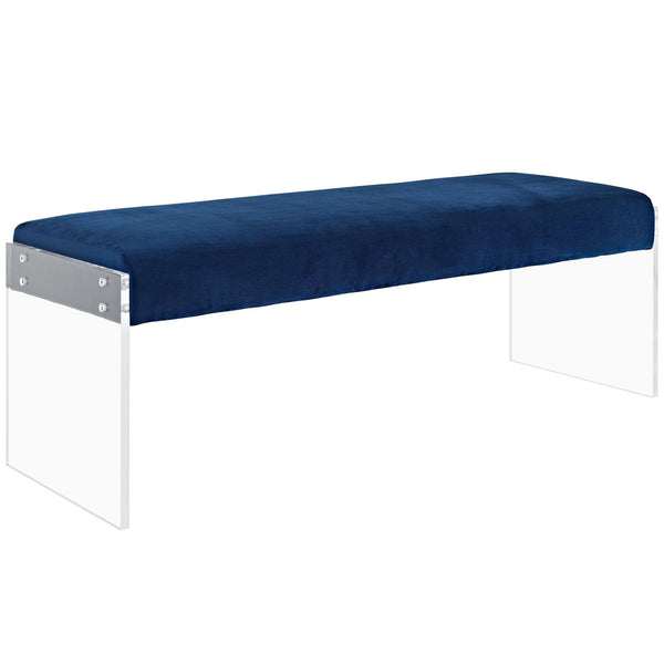 Benches - Modway EEI-2461-NAV Roam Velvet Chic Modern Bench Clear Acrylic | 889654095996 | Only $210.05. Buy today at http://www.contemporaryfurniturewarehouse.com
