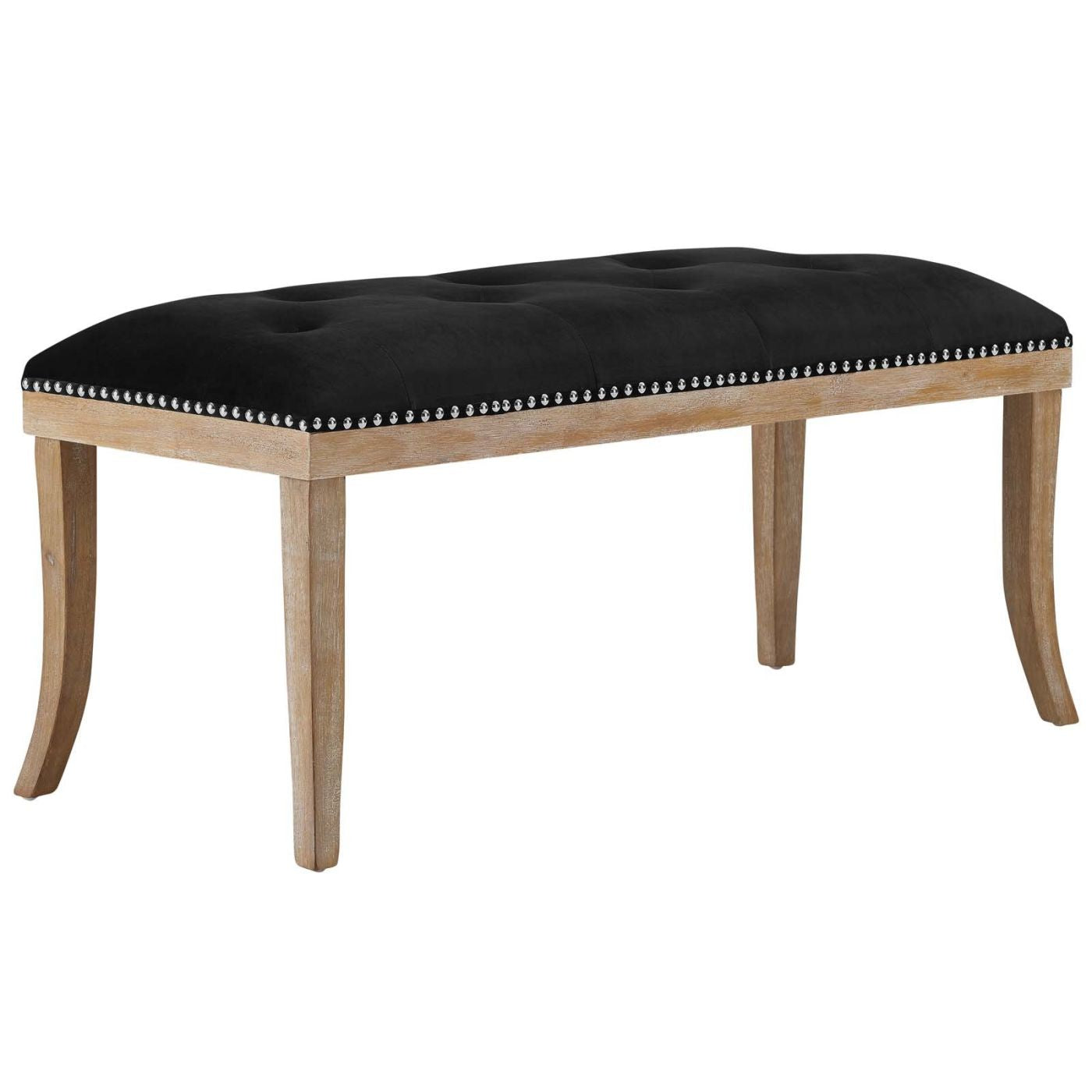 Expression Modern Farmhouse Style Upholstered Fabric Bench Black ...