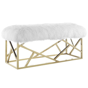Intersperse Bench Luxurious Genuine Sheepskin / Gold White