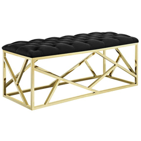 Intersperse Bench Velvet Upholstery / Gold Black