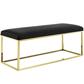Benches - Modway EEI-2851-GLD-BLK Anticipate Modern Velvet Gold Stainless Steel Bench | 889654111290 | Only $257.50. Buy today at http://www.contemporaryfurniturewarehouse.com