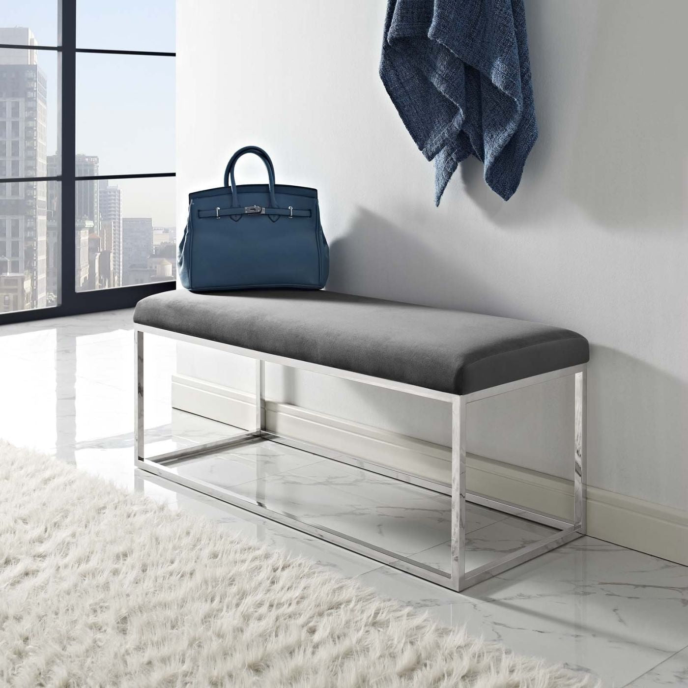 Gaze Modern Bed Or Living Room Fabric Bench by Modway | EEI-2869-SLV-GRY