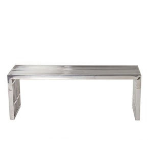 Benches - Modway EEI-625-SLV Gridiron Medium Stainless Steel Bench | 848387029081 | Only $234.30. Buy today at http://www.contemporaryfurniturewarehouse.com