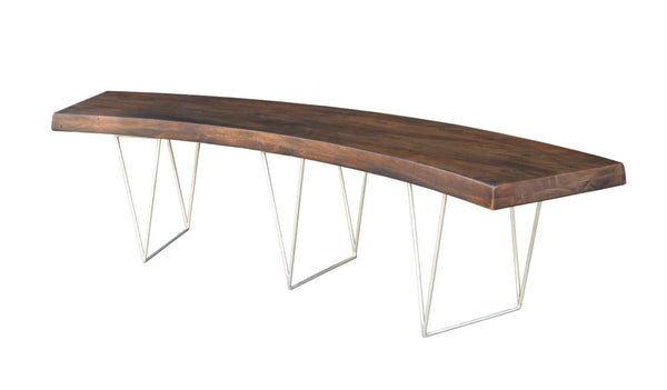 Ario Curved Bench Acacia Wood Iron
