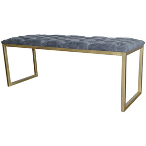 Avril Bonded Leather Bench Gold Frame Vintage Midnight