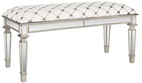 Layla Upholstered Mirror Bench Grey / Beige Design